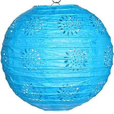 "3 turquoise paper lace pattern lanterns 8"" diameter wedding party decorations"