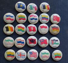 23 WORLD FLAG BUTTONS - Cigarette Pins - Vintage