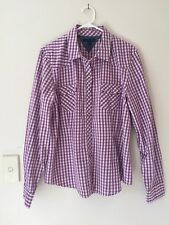 Womens Tommy Hilfiger 100% Cotton pearl stud western shirt Size XL purple/white