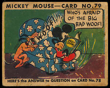 1935 MICKEY MOUSE OPC O PEE CHEE CANADA GUM #79 WALT DISNEY VG CARD NOT TOPPS