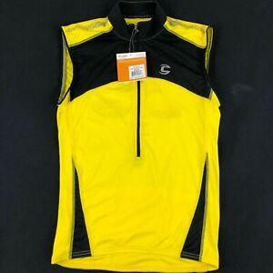 Cannondale Mens Medium Sleeveless Yellow Cycling Jersey 1/2 Zip NWT Reflective