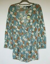 PRIMARK Ladies Romper UK 12 Pale Blue Play Suit Floral Ruched Sleeve Elasticated