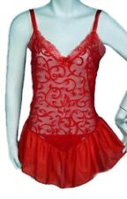 Sexy Lingerie Red Chiffon see through Baby Doll matching Panty (S)