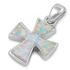 SOLID White Australian FIRE Opal Cross .925 Sterling Silver Pendant
