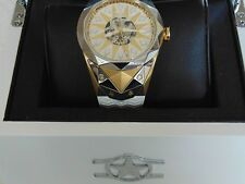 Watchstar SuperStar Skeleton Automatic 21 Jewel Silver Gold Dial Exotic Watch
