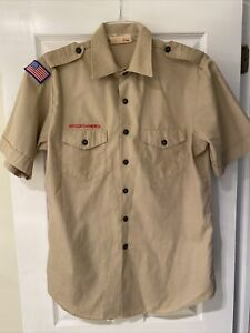 Boy Scout BSA UNIFORM SHIRT Mens Large Short Sleeve Tan I12