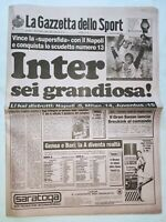 GAZZETTA DELLO SPORT 29-5-1989 INTER DEI RECORD 13° SCUDETTO CAMPIONI D'ITALIA