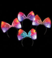 100 LED Flashing Multicolored Light Up Bow Headbands - WHOLESALE