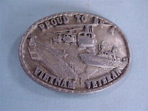 1987 Proud To Be Vietnam Veteran Pewter Belt Buckle - Indiana Metal Craft RARE