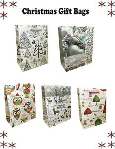 5 x Christmas Gift Bag Small Present Candy Xmas Bags Different design Mini bags