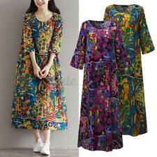 US Stock Women Casual 3/4 Sleeve Round Neck Retro Floral Loose Maxi Shirt Dress