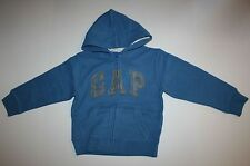 New Gap Kids Boys Blue Hoodie GAP Arch Logo Zip Up XS 4-5 Year NWT Sweatshirt