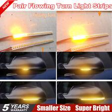2X 32 LED Amber 12V Car Rear Mirrors Flexible Flowing Turn Signal Light Strip US