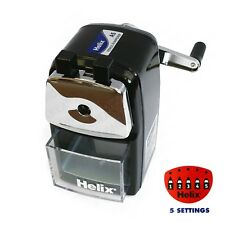 Helix Desktop Black Rotary Pencil Sharpener Metal Heavy Duty Body & Desk Clamp