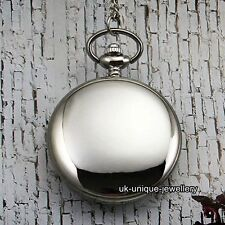 Unique Silver Pocket Watch Necklace Chain Xmas Gift For Him Dad Son Mens Husband