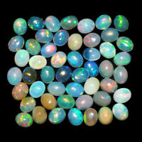 50 Pcs Natural Opal Ethiopia Flashy Top Quality 5mm/4mm Loose Cabochon Gemstones