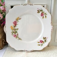 ROYAL STAFFORD TEA ROSE CAKE PLATE - PINK YELLOW ROSES - GILDED BONE CHINA