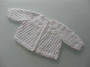NEW HAND KNITTED BABY CARDIGAN/MATINEE JACKET - WHITE