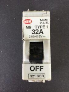 MEM 321QEB 32A Type 1 M6 MCB