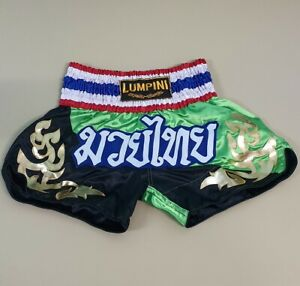 SHORTS MUAY THAI KICK BOXING MMA FIGHT MULTI GREEN BLACK NEW LUMPINI L SATIN
