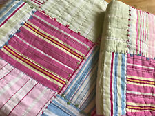Pottery Barn Kids Twin Quilt, Patchwork Pink Blue with Standard Sham