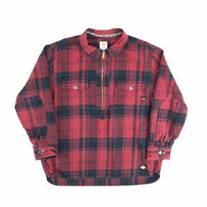 Vintage Dickies 1/2 Zip Flannel Shirt Jacket Plaid 2XL