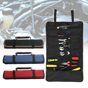 22 Pockets Tool Case Roll Spanner Wrench Tool Fold Up Canvas Storage Bag UK
