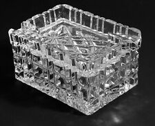 Vintage Heavy Cut Crystal Cigarette Box With Ashtray Lid