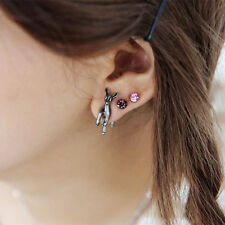 Double Sided Ear Stud Earrings for Wo Sexy Sparkles Sexy Sparkles Deer Animal 3D