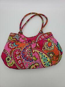 Vera Bradley Satchel Purse Bag Pink Floral Paisley Hippie Boho Print