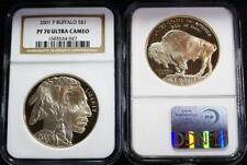 2001-P $1 0.7734 .900 Purity Proof Silver Buffalo NGC PF 70 UC Cert.#1665534-027