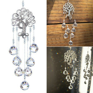 Crystal Suncatcher Life Tree Balls Prism Pendant Window Hanging Decor 46.5cm