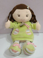 Doudou et Compagnie Girl Dress Green Hoodie France Doll Plush Soft Toy Stuffed