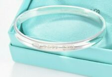 """Tiffany & Co Silver 1837 Oval Round Bangle 7"""" Bracelet and Pouch Rare Lovely"""