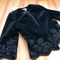 $179 New Peter Nygard Black Velvet Soutache Ornate Jacket Blazer Party Sz 6 8