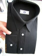 C & A,BLACK COTTON,POINTED COLLAR,MANS RETRO SHIRT,15 1/2 INCH,BRAND NEW