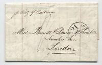 1863 New York to London transatlantic stampless Inman line [H.460]
