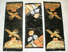 Lot of 3 1920's Black Velvet Table Runners Painted w/ Metallic Accents