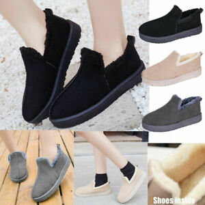 WOMENS LADIES FLAT WARM WINTER ANKLE OUTDOOR FLUFFY FUR LINED SOFT SLIPPERS SIZE