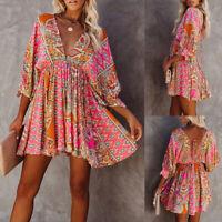 ❤️Women Floral V Neck Mini Dress Summer Beach Casual Loose Ruffle Swing Sundress