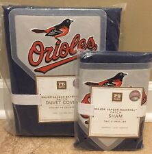 NEW Pottery Barn Teen MLB Patch TWIN Duvet + Sham - NAVY - BALTIMORE ORIOLES