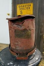 Rustic Vintage Industrial Gas Station Oil/Grease Rag Disposal Can w/ foot pedal