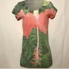 Woman's Crew Neck Fitted Tshirt Hibiscus Graphic Print Size Small NWT