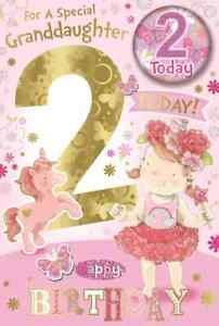 """For a Special Granddaughter 2nd Birthday Card. With Badge. Large Card 9""""x 6"""""""
