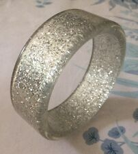Vintage 70s Acrylic Glitter Bangle Clear Silver Disco Plastic Bracelet Sparkly