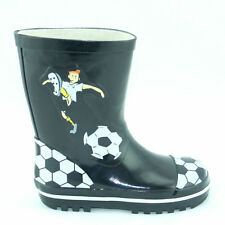 BOYS BLACK AND WHITE MARADONA FOOTBALL MOTIF WATERPROOF WELLY BOOTS