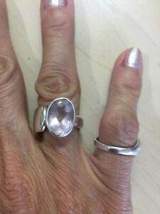 Unique Sterling Silver 925 Thick Solid Modern Rose Quartz Band Ring Size 7.5 12g