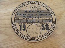 Original Vintage norton sidecar  Bicycle Tax Disc september  1958