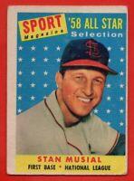 1958 Topps #476 Stan Musial GOOD+ WRINKLE PIN HOLE St. Louis Cardinals FREE S/H
