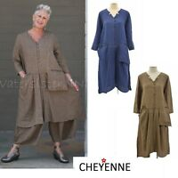 CHEYENNE  LT0620 Linen  LONG 3- POCKET DUSTER  Jacket  1X 2X 3X  BLUE or OLIVE